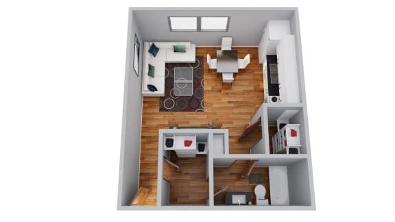 Floor Plan  The Broadmoor Apartments Studio 3D Floor Plan