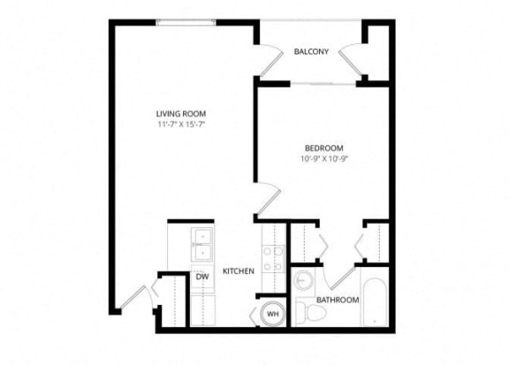 Floor Plan  Bayview Apartment Homes Federal Way, Washington 1 Bedroom 1 Bath Floor Plan