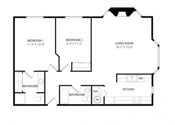 Floor Plan  Bayview Apartment Homes Federal Way, Washington 2 Bedroom 2 Bath Floor Plan