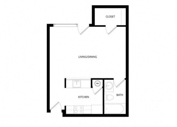 Floor Plan  Bayview Apartment Homes Federal Way, Washington Studio Floor Plan