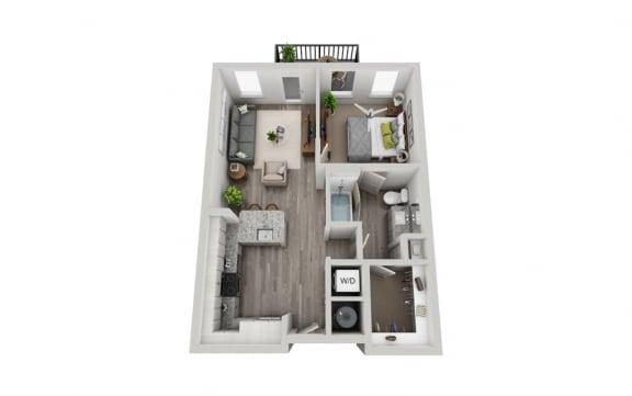 Floor Plan  1 Bedroom 1 Bath 640 sqft (A1) Floor Plan at The Ellis, Savannah, GA
