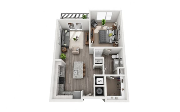 Floor Plan  1 Bedroom 1 Bath 732 sqft (A2) Floor Plan at The Ellis, Savannah, 31404