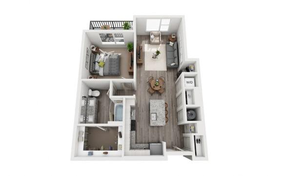 Floor Plan  1 Bedroom 1 Bath 787 sqft (A3) Floor Plan at The Ellis, Georgia, 31404