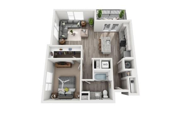 Floor Plan  1 Bedroom 1 Bath 774 sqft (A4) Floor Plan at The Ellis, Savannah, GA, 31404