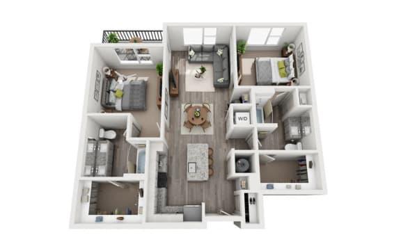 Floor Plan  2 Bedroom 2 Bath 1080 sqft (B1) Floor Plan at The Ellis, Savannah, GA