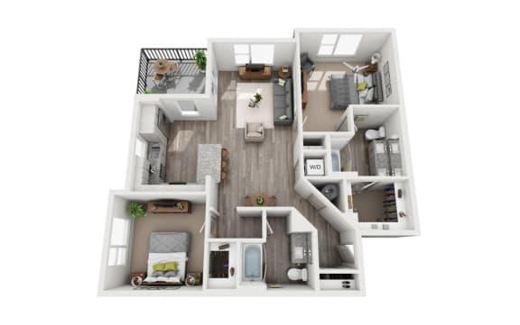 Floor Plan  2 Bedroom 2 Bath 1139 sqft (B2) Floor Plan at The Ellis, Savannah, 31404
