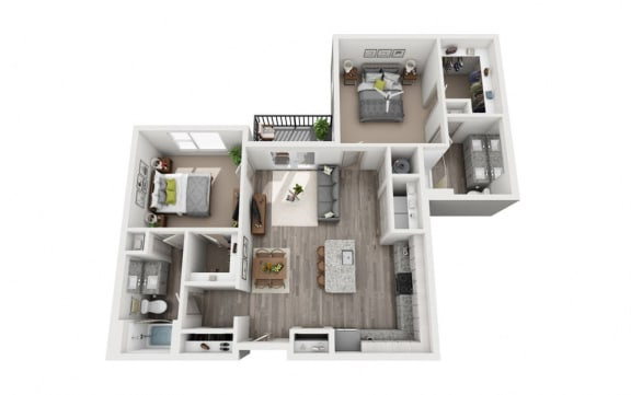 Floor Plan  2 Bedroom 2 Bath 1128 sqft (B3) Floor Plan at The Ellis, Savannah, Georgia