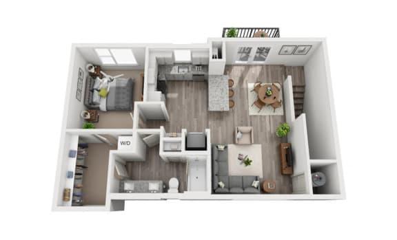 Floor Plan  1 Bedroom 1 Bath 765 sqft (CH1) Floor Plan at The Ellis, Savannah
