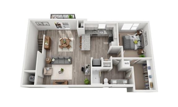 Floor Plan  1 Bedroom 1 Bath 965 sqft (CH2) Floor Plan at The Ellis, Georgia