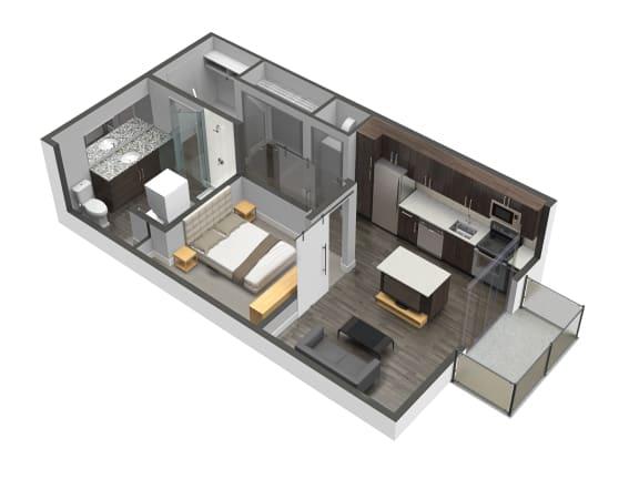 Floor Plan  A2 1 Bed 1 Bath Floor Plan at Spoke Apartments, Atlanta, 30307