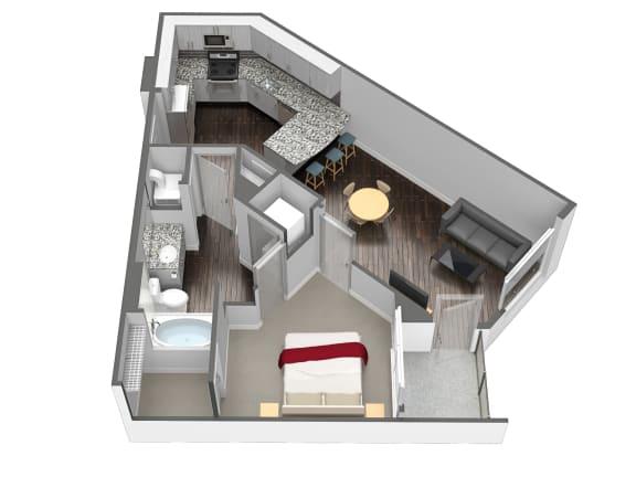Floor Plan  A3 1 Bedroom 1 Bathroom Floor Plan at Spoke Apartments, Atlanta, Georgia