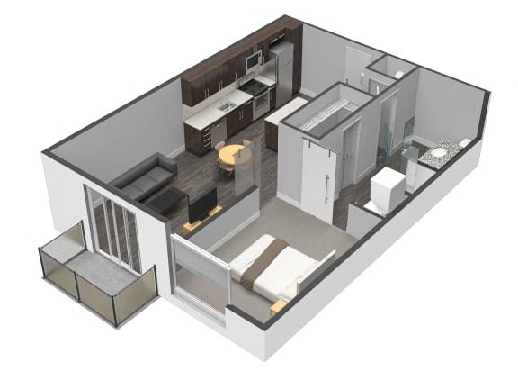 Floor Plan  A4 One Bed One Bath Floor Plan at Spoke Apartments, Atlanta