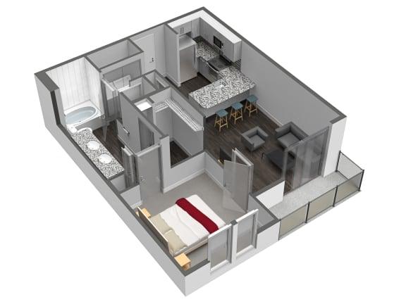Floor Plan  A5 1 Bedroom 1 Bathroom Floor Plan at Spoke Apartments, Georgia
