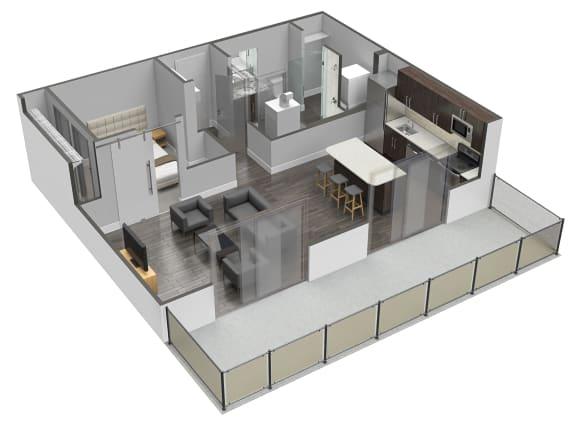 Floor Plan  A6 1 Bed 1 Bath Floor Plan at Spoke Apartments, Georgia, 30307