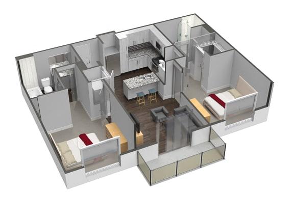 Floor Plan  B1 2 Bed 2 Bath Floor Plan at Spoke Apartments, Atlanta, GA, 30307