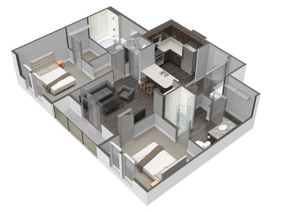 Floor Plan  B2 2 Bedroom 2 Bathroom Floor Plan at Spoke Apartments, Atlanta, GA
