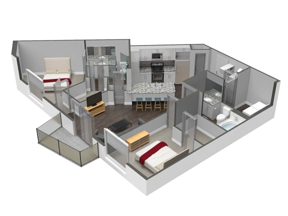 Floor Plan  B3 2 Bed 2 Bath Floor Plan at Spoke Apartments, Atlanta, 30307