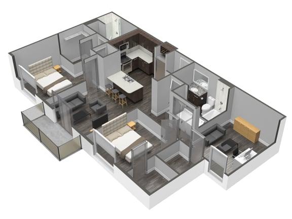 Floor Plan  B6 3 Bedroom 2 Bathroom Floor Plan at Spoke Apartments, Georgia