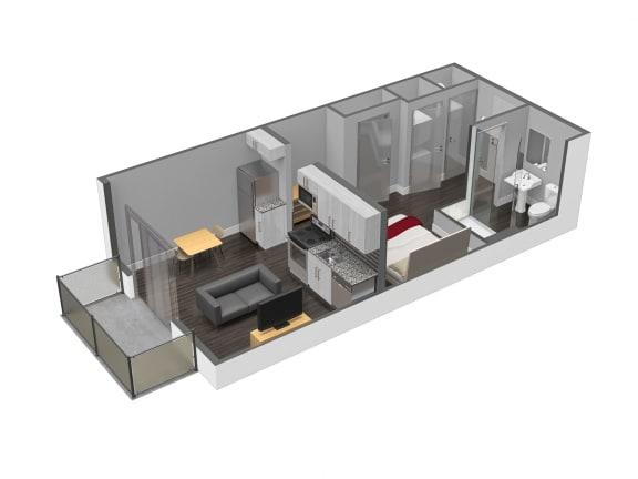 Floor Plan  E1 0 Bed 1 Bath Floor Plan at Spoke Apartments, Atlanta, GA