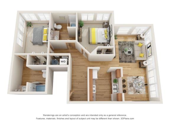 Floor Plan  Fairview Village | Cedar Street 2x2