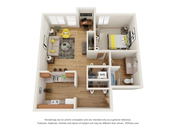 Floor Plan  Fairview Village | Charles Court 1x1