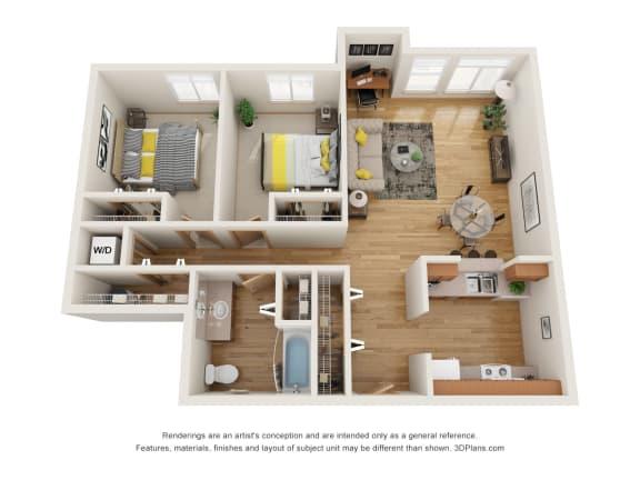 Floor Plan  Fairview Village | Creek Way 2x1