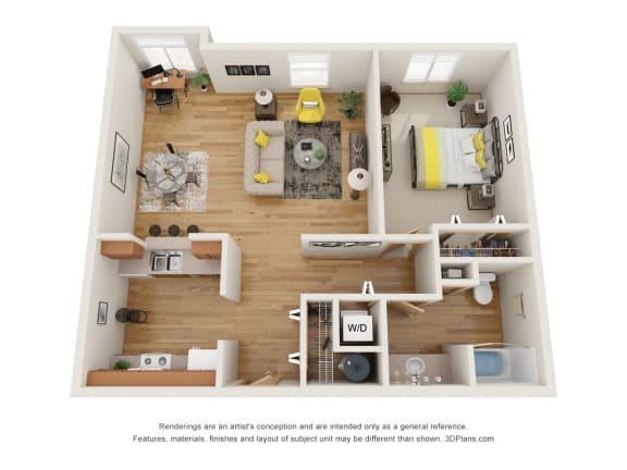 Floor Plan  Fairview Village | Glisan Street 1x1