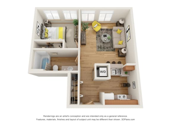 Floor Plan  Fairview Village | Halsey Street 1x1