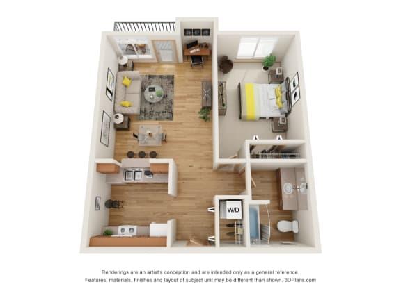 Floor Plan  Fairview Village | Pacific Street 1x1