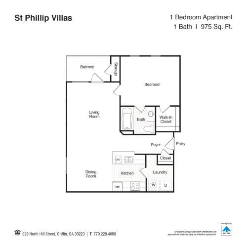 Floor Plan  1 Bed 1 Bath Floor Plan at St. Phillip Villas, Georgia