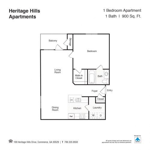 Floor Plan  1 Bed 1 Bath Floor Plan at Heritage Hills, Commerce, 30529
