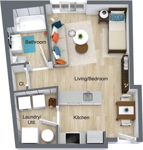 Floor Plan  one-newport-apartments-studio