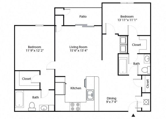 Floor Plan  oak 2 bedroom 2 bathroom floor plan