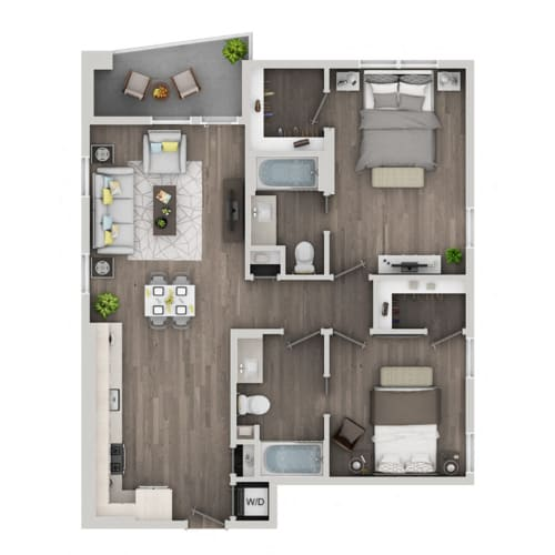 Floor Plan  Two bedroom floor plan at nVe at Fairfax