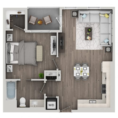 Floor Plan  One bedroom floor plan at nVe at Fairfax