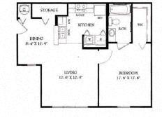 Floor Plan  One Bedroom/One Bath