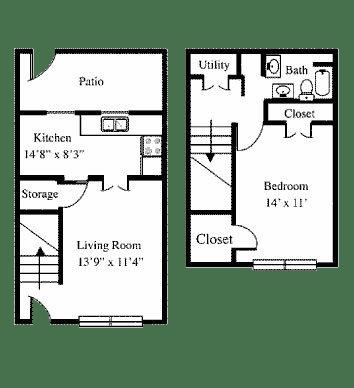 Floor Plan  1BR 1BA Townhome