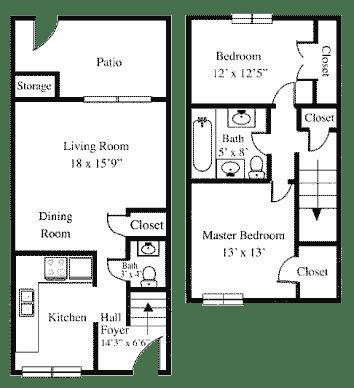 Floor Plan  2BR 1.5BA