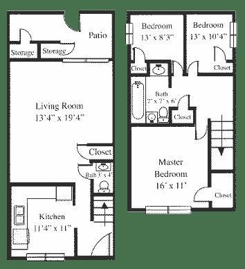Floor Plan  3BR 1.5BA