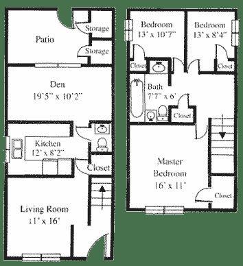 Floor Plan  3BR 1.5BA w/Den