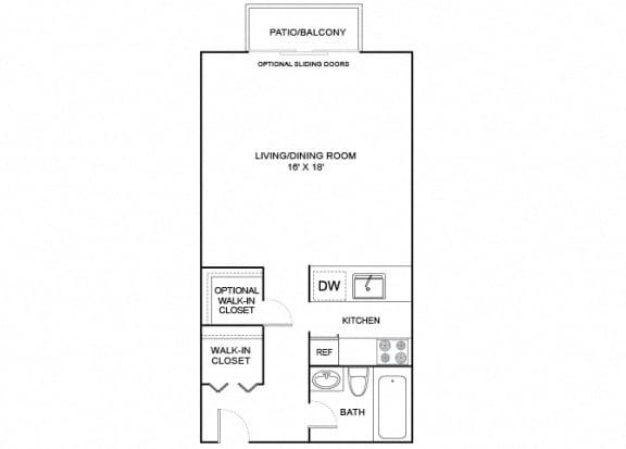 Floor Plan  acorn studio 1 bath 440 sf