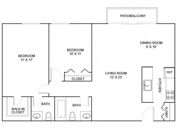 Floor Plan  butternut 2x1.5 951 SF