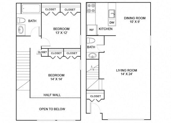 Floor Plan  elm 2x1.5 876 sf