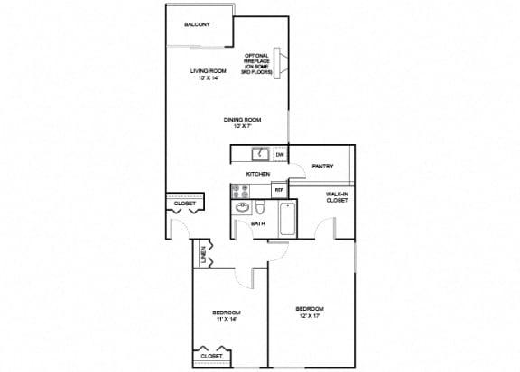 Floor Plan  evergreen 2x1 1049 SF