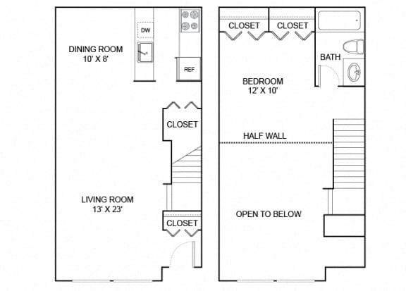 Floor Plan  falcon 1x1 669 SF