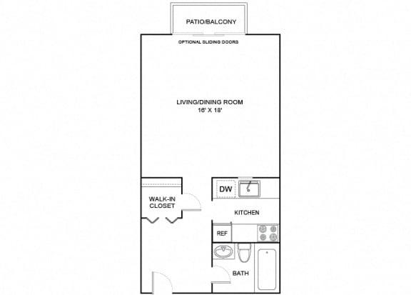 Floor Plan  Fern Studio x1 532 SF