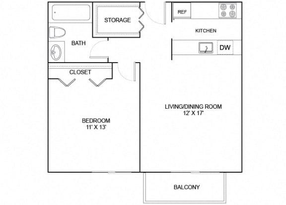 Floor Plan  Finch 1X1 607