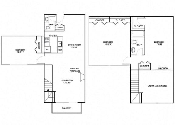 Floor Plan  Grove 2X1_5 1346