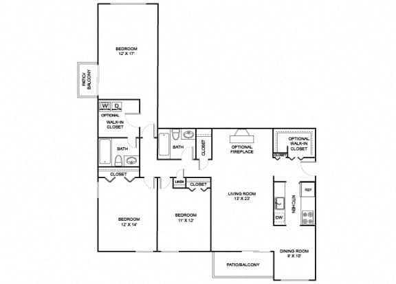 Floor Plan  Meadow 3X2 1384