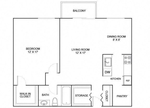 Floor Plan  Sparrow 1X1 738